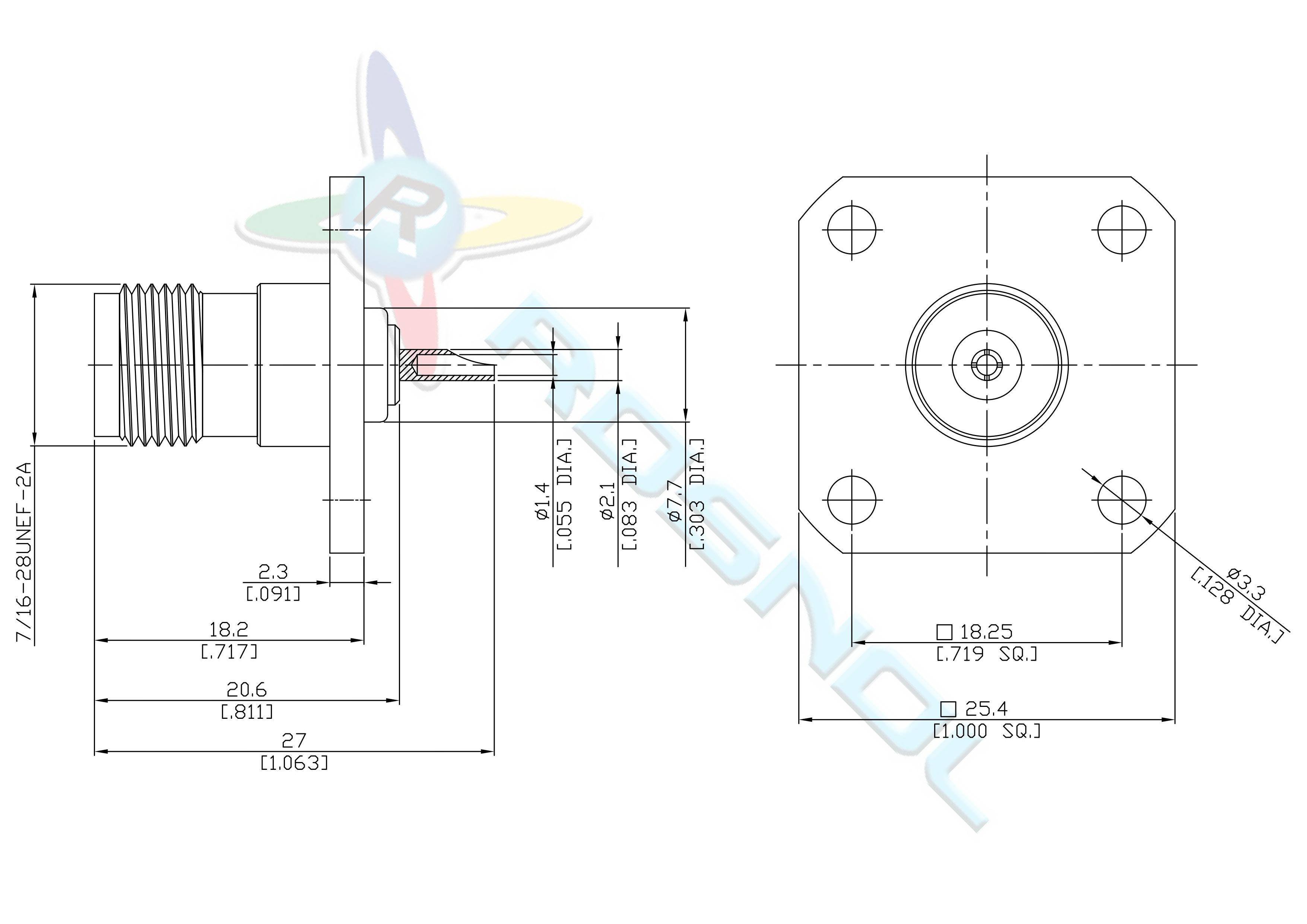 Tnc Straight Panel Jack Female 4 Hole Flange Solder End 1 Wiring Datasheet Mounting Dimension